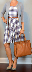 outfit post: purple plaid dress, grey cardigan, grey pointed to pumps