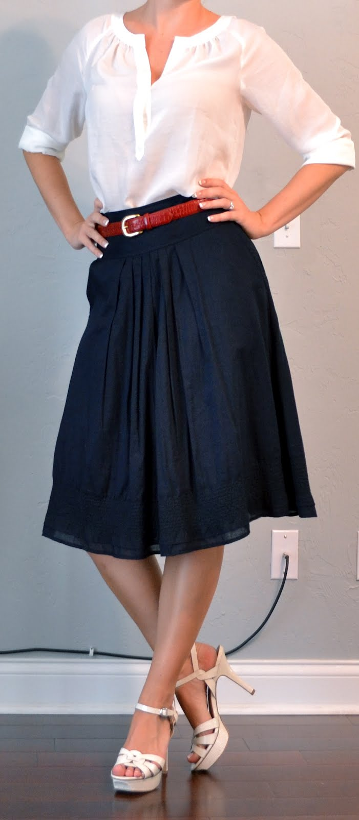 outfit post: white peasant blouse, a-line navy skirt, red belt
