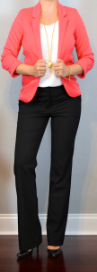 outfit post: coral blazer, white shell, black dress pants