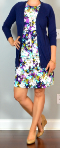 outfit post: purple sleeveless floral ponte dress, navy boyfriend cardigan, nude wedges