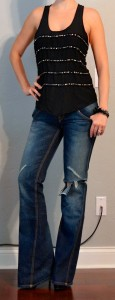 outfit post: black sequin tank, distressed flare jeans