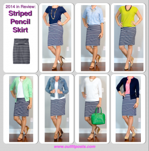 2014 in review – outfit posts: striped pencil skirt – 7 ways