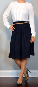 outfit post: white pleated blouse, navy a-line midi skirt, pointed toe snakeskin pumps