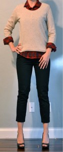 outfit post: red plaid shirt, oatmeal sweater, black cropped pants, peep toed pumps