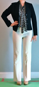 outfit post: tie blouse, blazer, cream pant