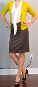 outfit post: mustard cardigan, white tie blouse, brown pencil skirt, peep toed pumps