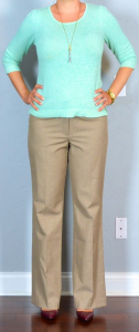 outfit post: mint sweater, tan pants, burgundy pointed toe pumps