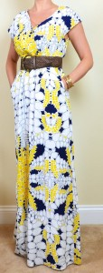outfit post: yellow & blue floral maxi dress