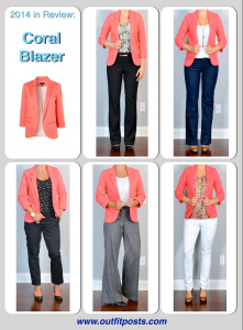 2014 in review – outfit posts: coral blazer – 5 ways