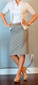 outfit post: grey pencil skirt, white button up, cream cardigan
