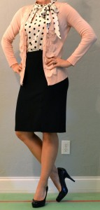 outfit post: pink cardigan, polka dot blouse, black pencil skirt