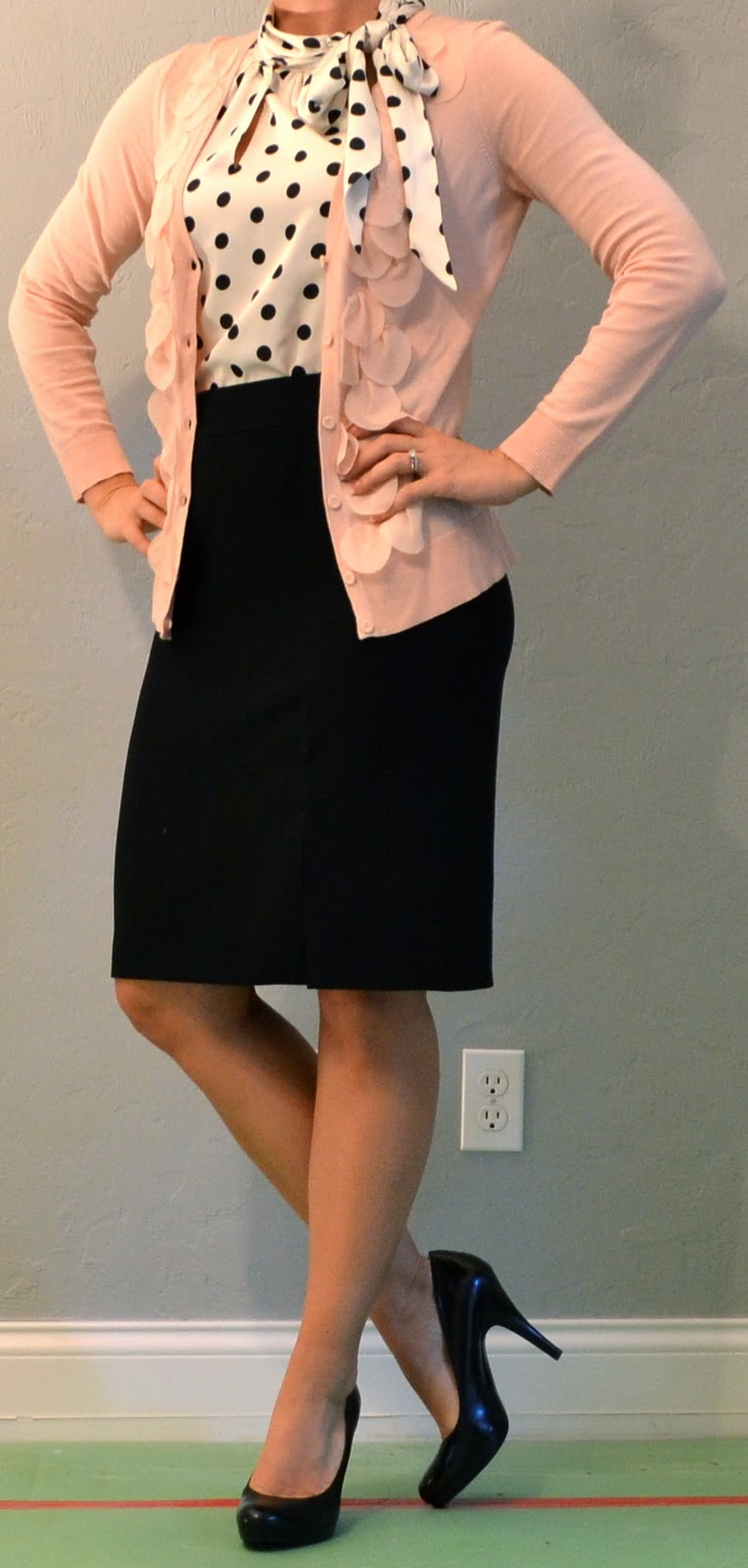Outfit Post Pink Cardigan Polka Dot Blouse Black Pencil