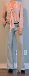 outfit post: pink tie front blouse, grey pants, black belt