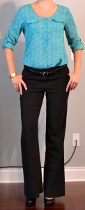 outfit posts: teal blouse, black slacks