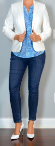 outfit post: white/ivory blazer, blue print blouse, skinny jeans, white pointed toe pumps