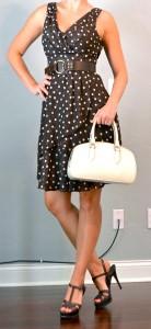 outfit post: brown polka dot pretty woman dress