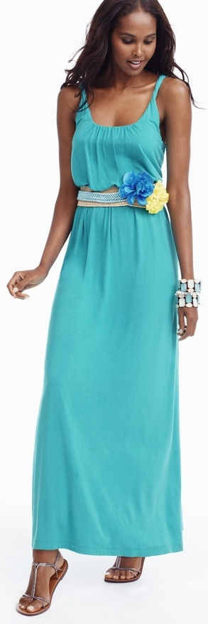 outfit post: teal maxi dress, wide bright stretchy belt