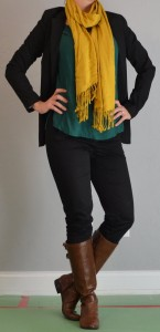 outfit posts: mustard scarf, green tunic, black skinny jeans, boots