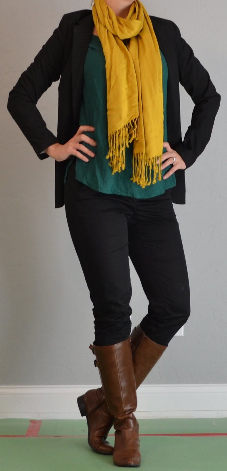 Outfit posts mustard scarf green tunic black skinny jeans boots