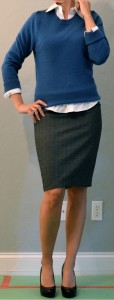 outfit post: blue sweater, white button down, grey pencil skirt