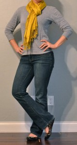 outfit post: mustard scarf, grey sweater, leopard flats