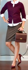 outfit post: burgundy cardigan, white button down, brown pencil skirt