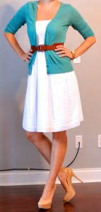 outfit post: white dress, teal cardigan