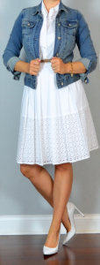 outfit post: white sleeveless eyelet shirt dress, jean jacket, white pointed toe pumps