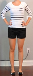 outfit posts: breton stripes, black shorts, black toed flats