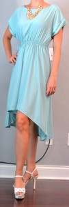 outfit post: green mint high-low dress