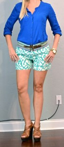 outfit post: tribal teal shorts, cobalt blue top, patterned belt