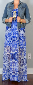 outfit post: blue print maxi dress, jean jacket