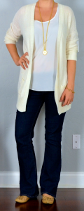 outfit post: cream boyfriend cardian, bootcut jeans, nude cutout flats