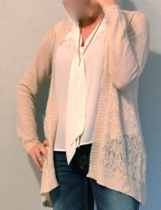 outfit post: cream long cardigan, tie front blouse, gold chain necklace