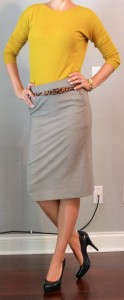 outfit posts: mustard sweater, grey pencil skirt, leopard belt