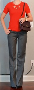 outfit post: red sweater, grey pants, black pumps