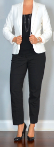 outfit post: white/ivory blazer, black top, black ankle pants, black pumps