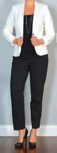 outfit post: white/ivory blazer, black top, black ankle pants, black pumps