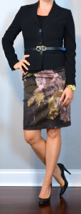 outfit post: black blazer, purple floral pencil skirt, black pumps