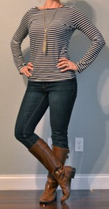 outfit post: striped long sleeved shirt, skinny jeans, brown boots