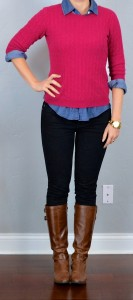 outfit post: pink sweater, chambray shirt, black skinny jeans, boots