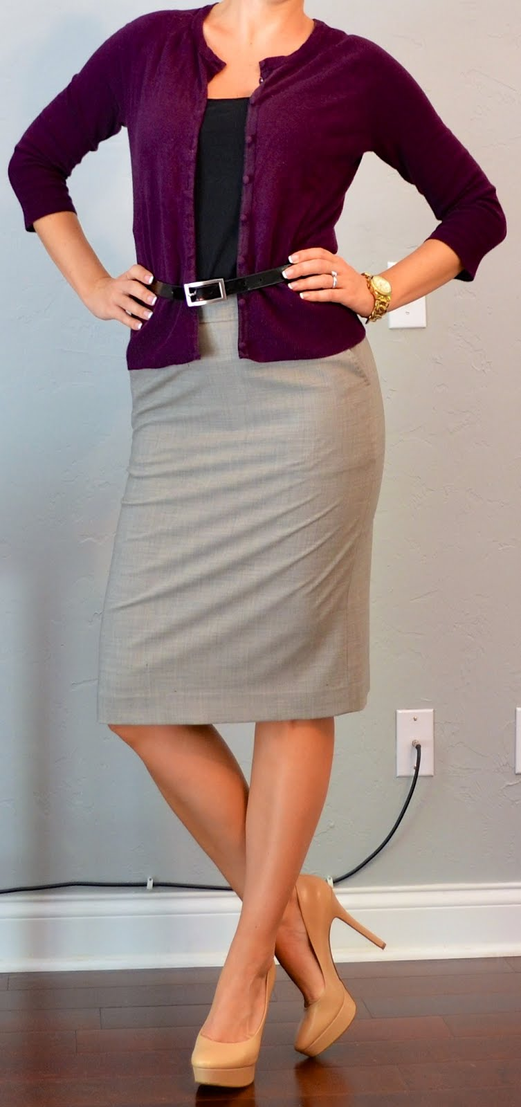 Outfit post grey pencil skirt plum cardigan nude pumps