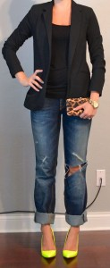 outfit post: neon yellow heels, boyfriend jeans, black jacket