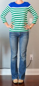 outfit post: green & blue striped shirt, bootcut jeans, nude flats