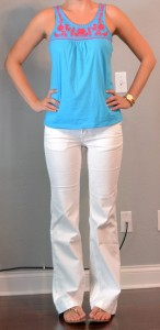 outfit post: teal embroidered tank, white jeans, flip flops