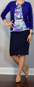 outfit post: purple cardigan, floral shell, navy pencil skirt, nude wedges