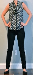 outfit post: tie front sleevless blouse, black skinny jeans, black flats