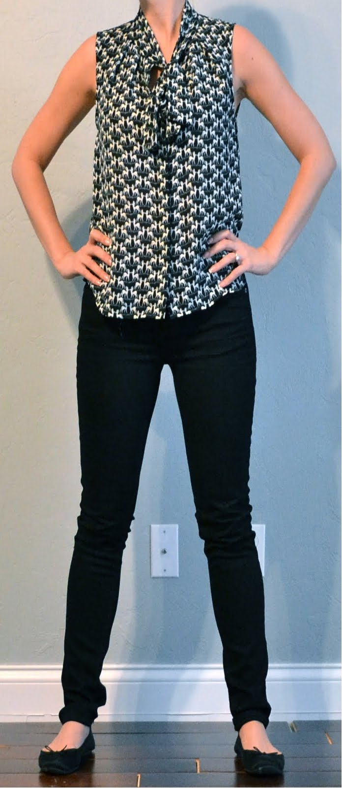 outfit post  tie front sleevless blouse  black skinny
