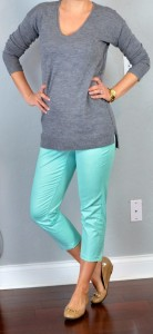 outfit posts: grey tunic sweater, mint cropped jeans, nude flats