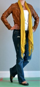 outfit post: leather jacket, scarf, jeans